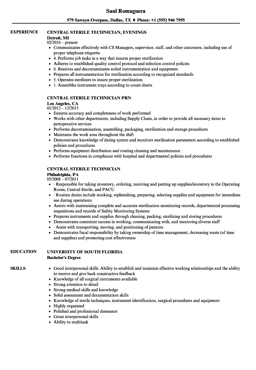 Central Sterile Technician Resume Samples | Velvet Jobs