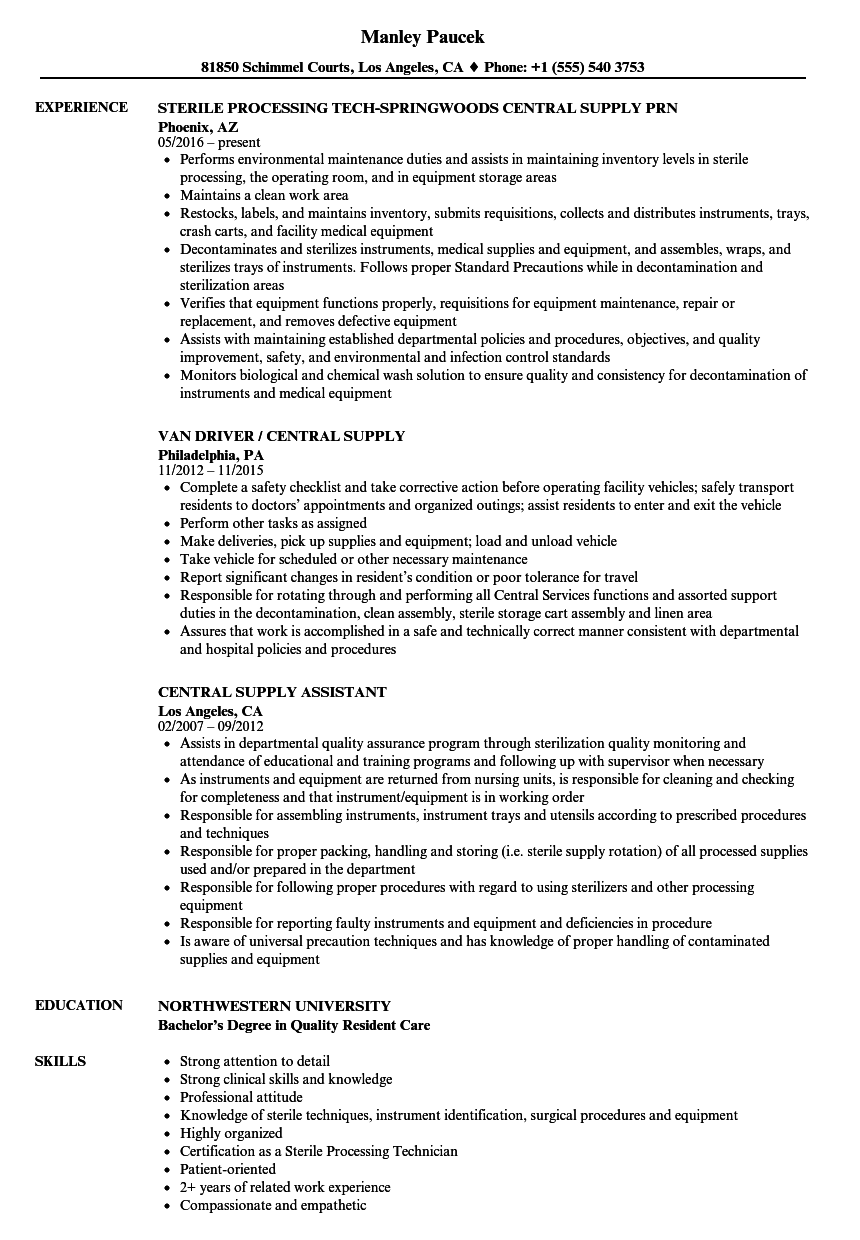Download Central Supply Resume Sample As Image File