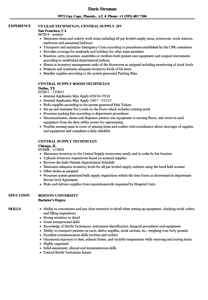 Download Central Supply Technician Resume Sample As Image File