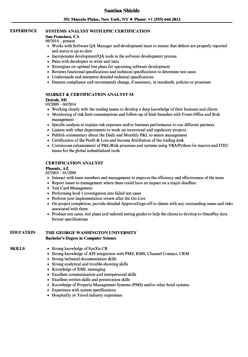 Certification Analyst Resume Samples Velvet Jobs