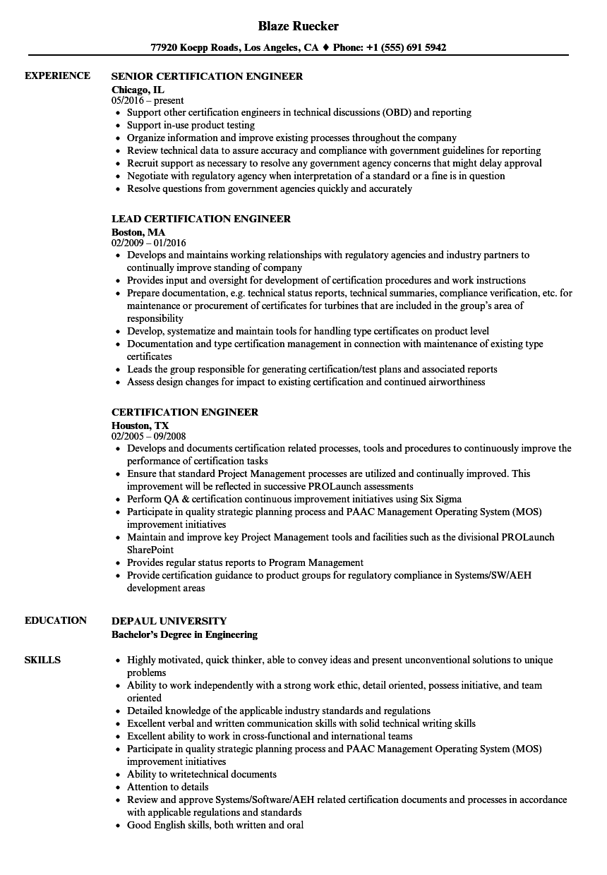 Certification Engineer Resume Samples | Velvet Jobs