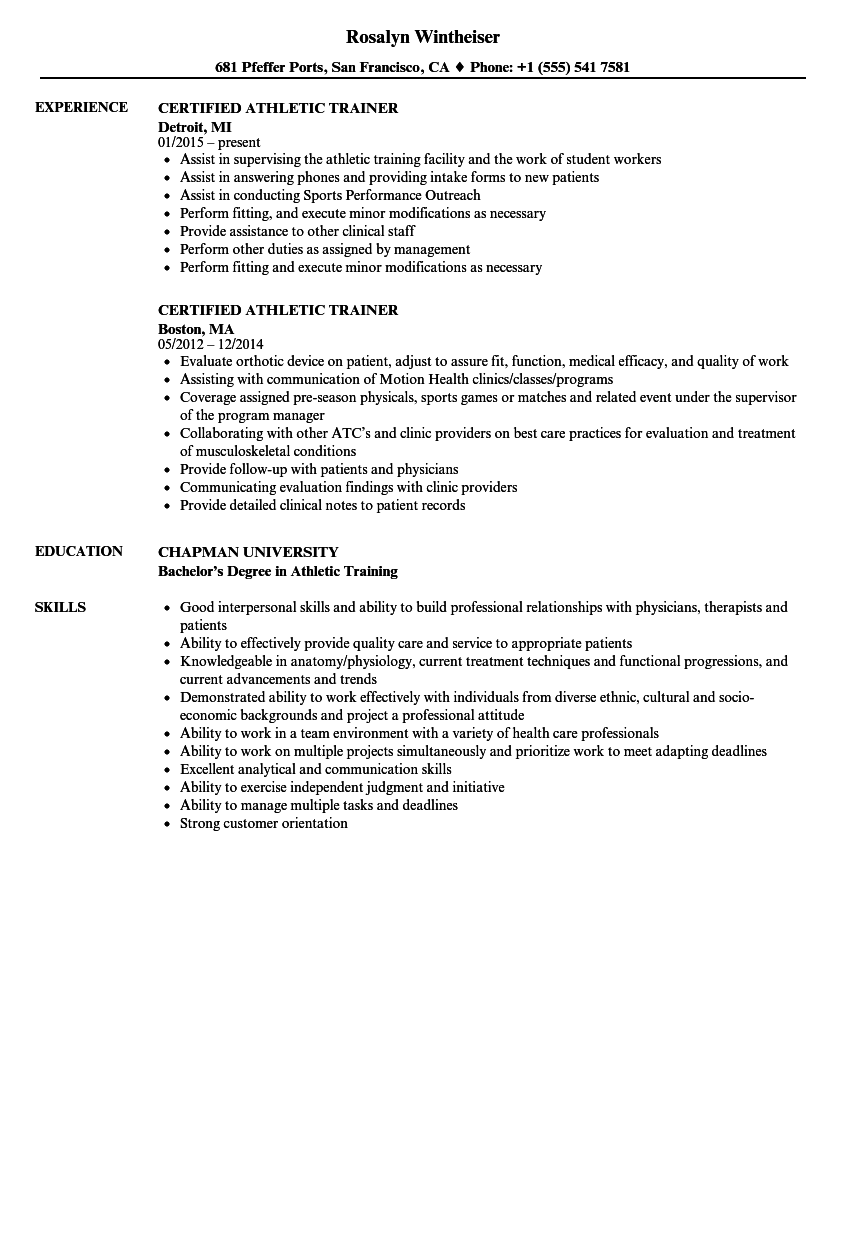 certified athletic trainer resume samples velvet jobs