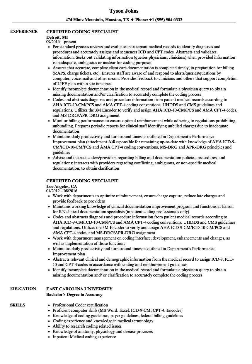 Certified Coding Specialist Resume Samples | Velvet Jobs