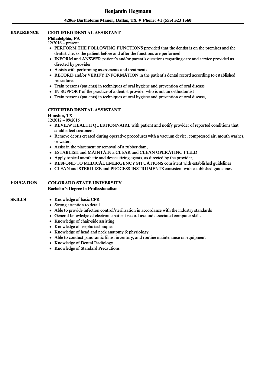 certified dental assistant resume samples velvet jobs