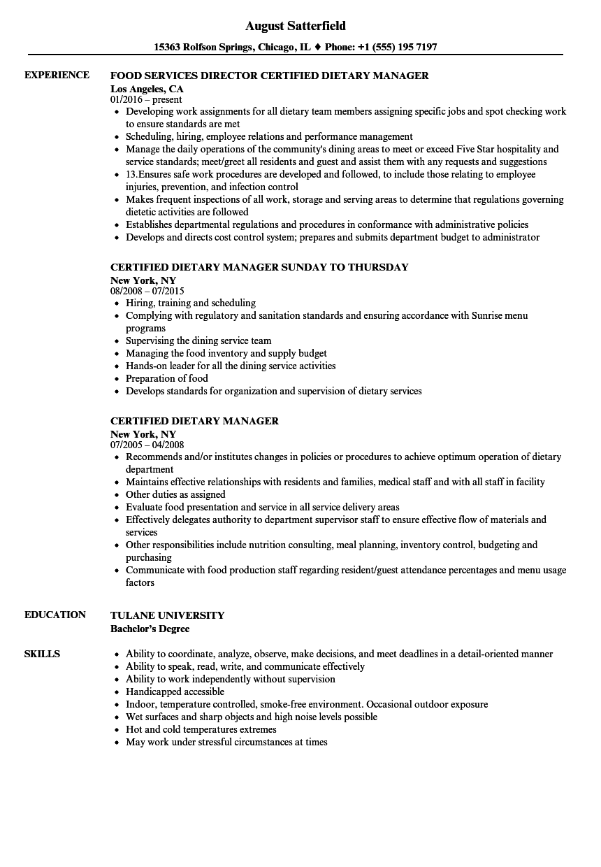 Certified Dietary Manager Resume Samples | Velvet Jobs