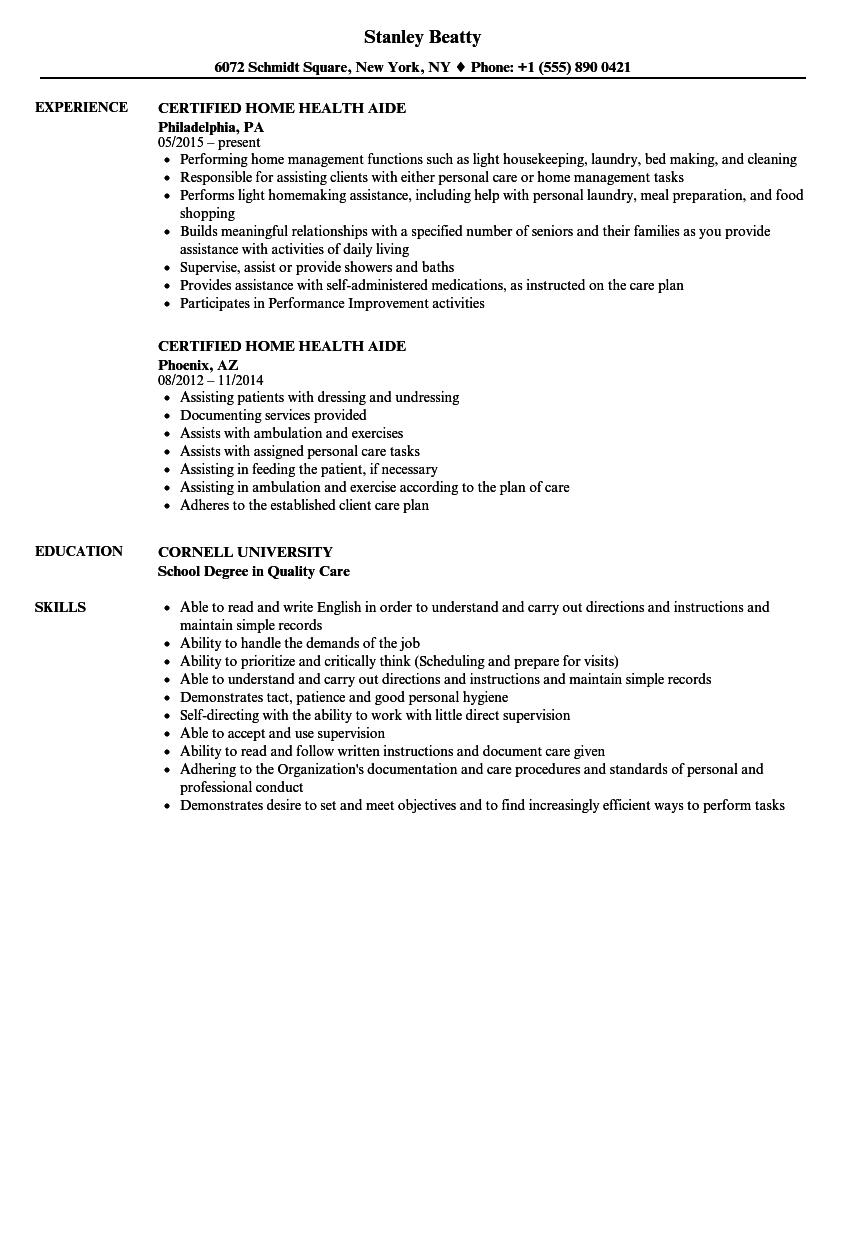 Download Certified Home Health Aide Resume Sample As Image File