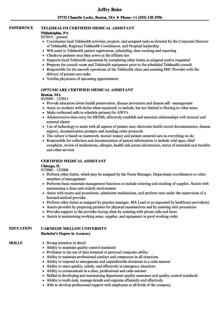 Certified Medical Assistant Resume Samples | Velvet Jobs