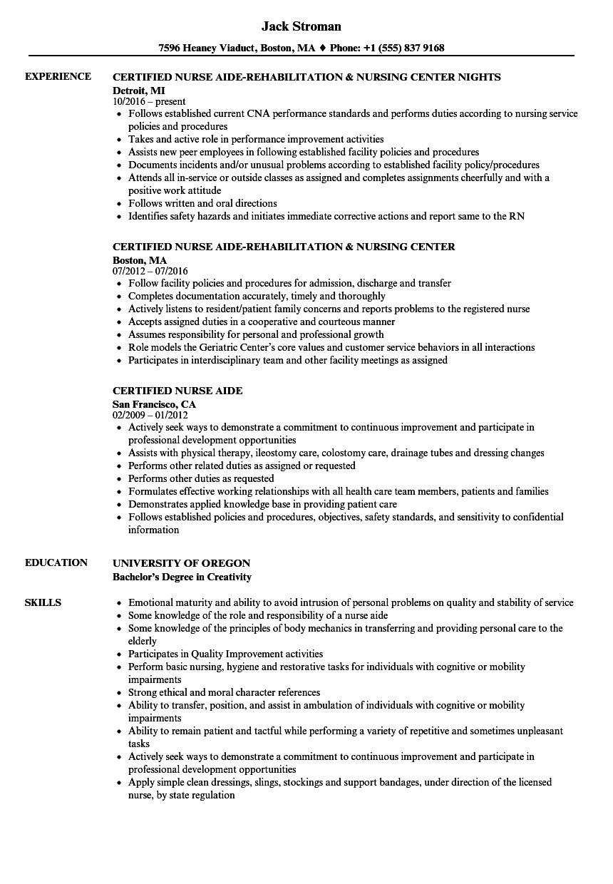 Certified Nurse Aide Resume Samples Velvet Jobs