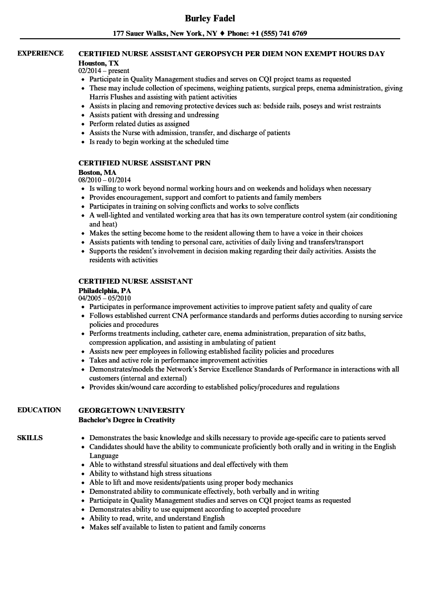 Certified Nurse Assistant Resume Samples Velvet Jobs