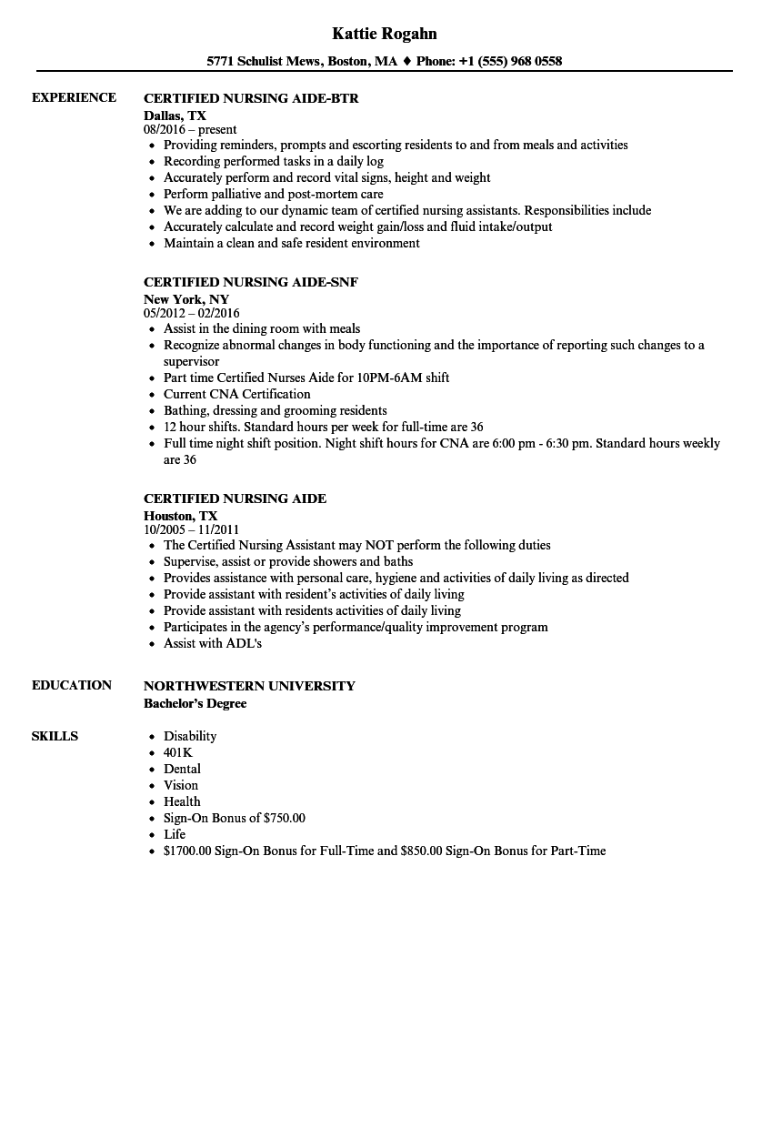 Certified Nursing Aide Resume Samples Velvet Jobs