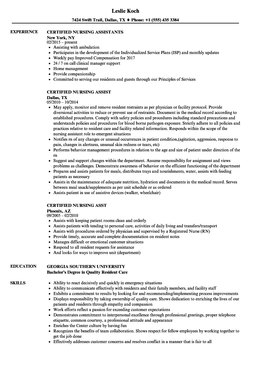 Certified Nursing Resume Samples Velvet Jobs