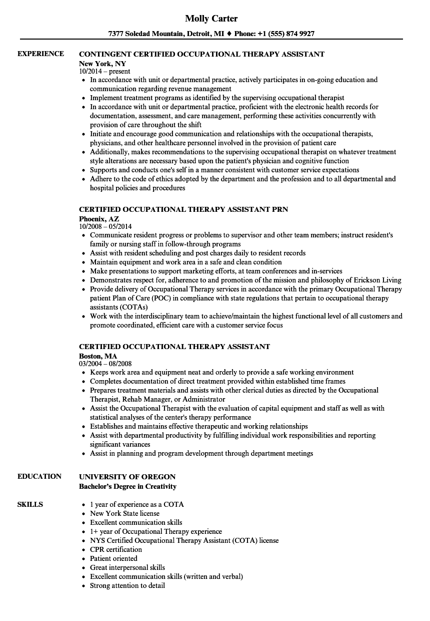 Download Certified Occupational Therapy Assistant Resume Sample As Image File