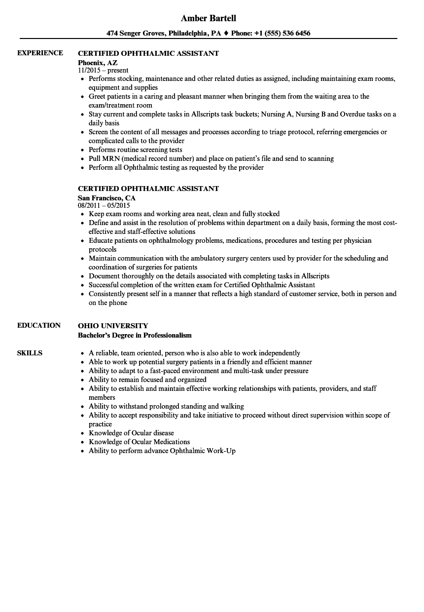 certified ophthalmic assistant resume samples