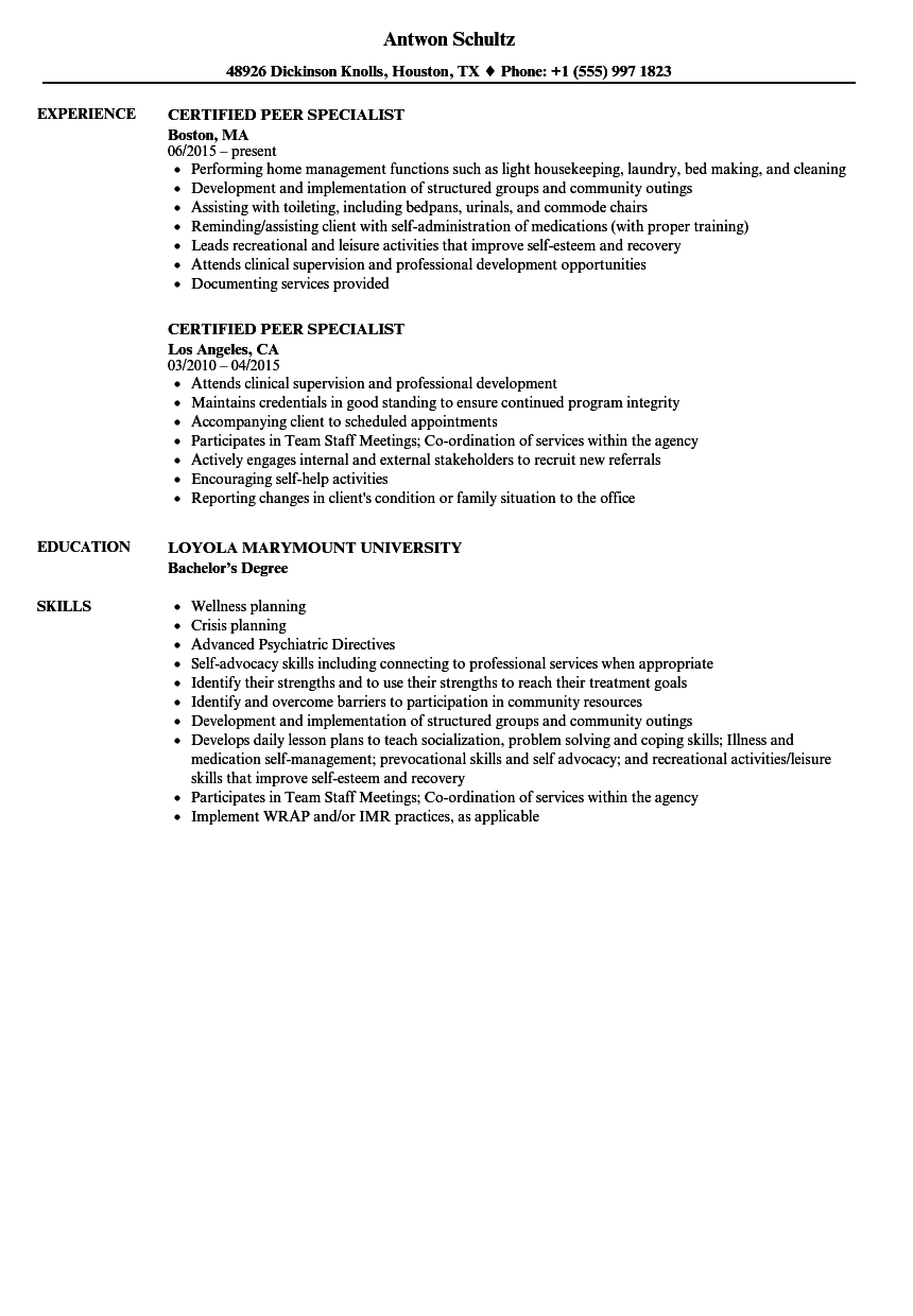 Certified Peer Specialist Resume Samples | Velvet Jobs