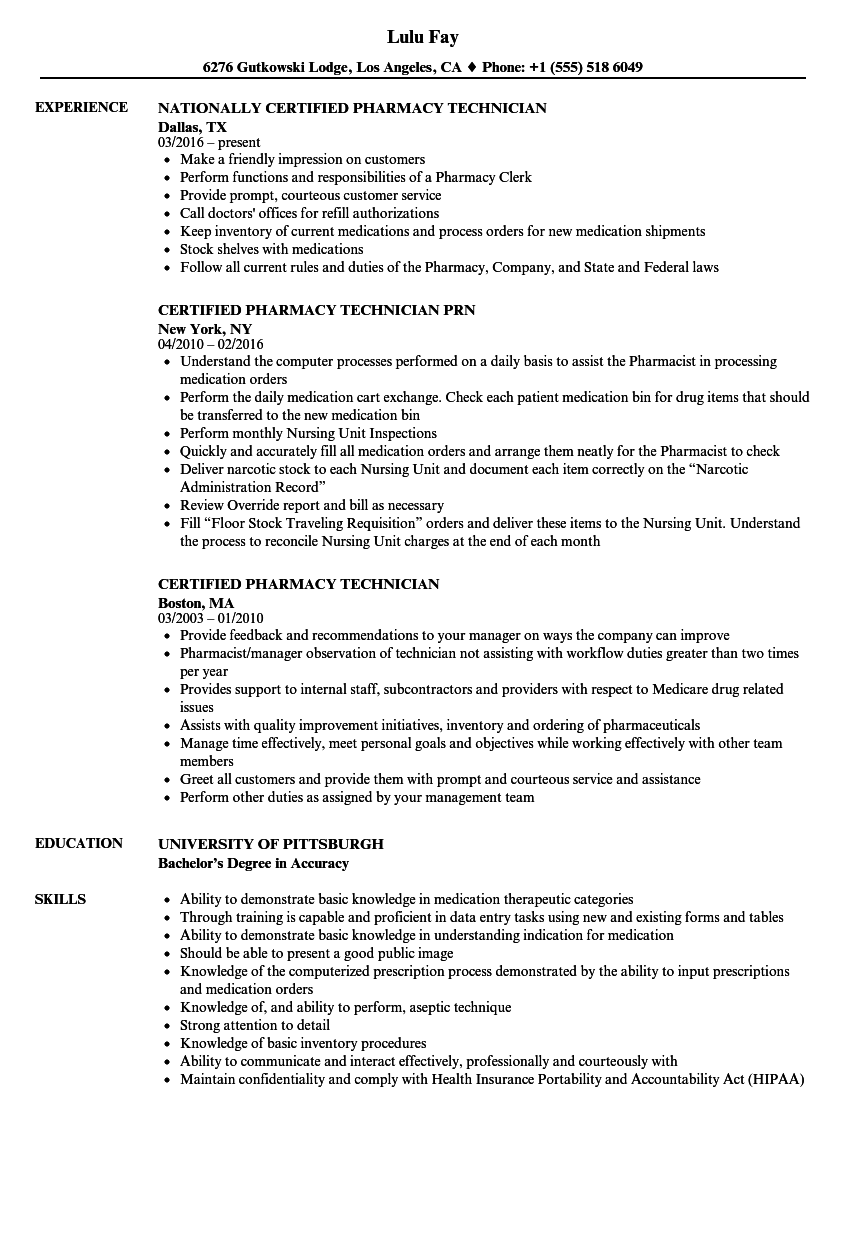 certified pharmacy technician resume samples velvet jobs