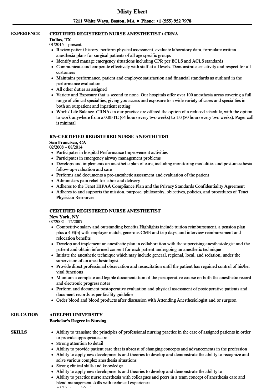Download Certified Registered Nurse Anesthetist Resume Sample As Image File