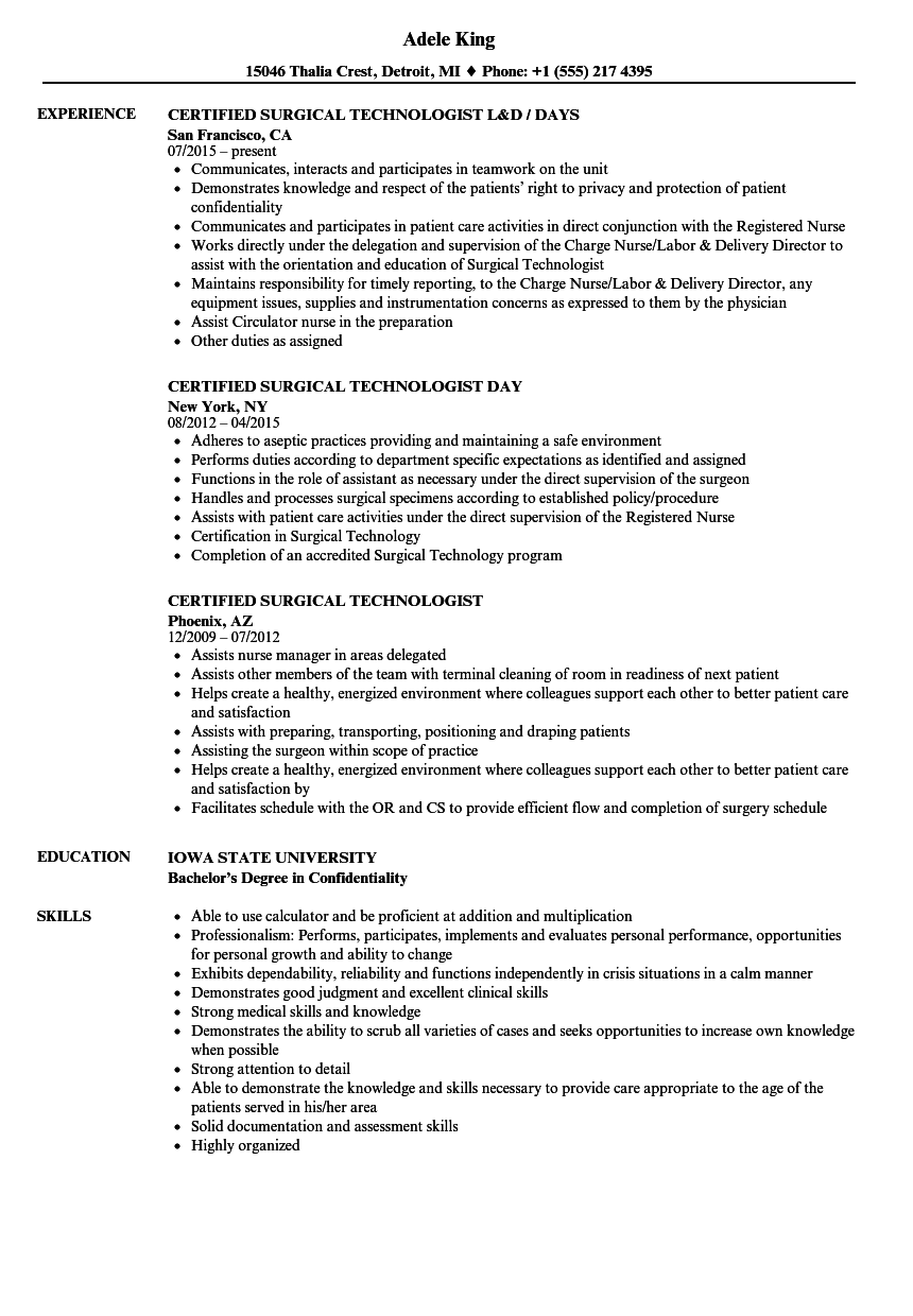 Certified Surgical Technologist Resume Samples Velvet Jobs