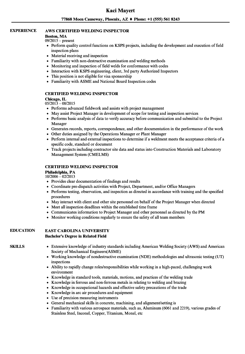 Certified Welding Inspector Resume Samples | Velvet Jobs