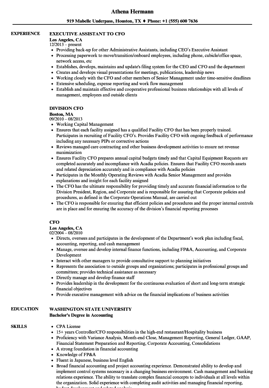 CFO Resume Samples Velvet Jobs