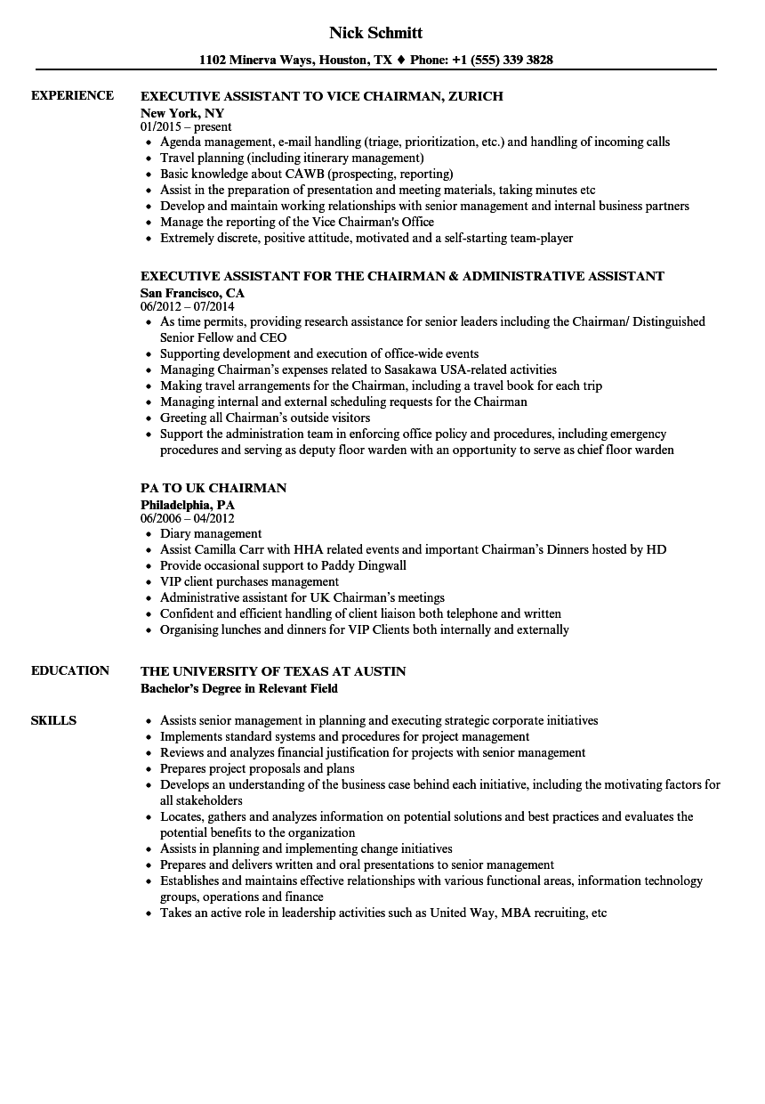 Chairman Resume Samples Velvet Jobs