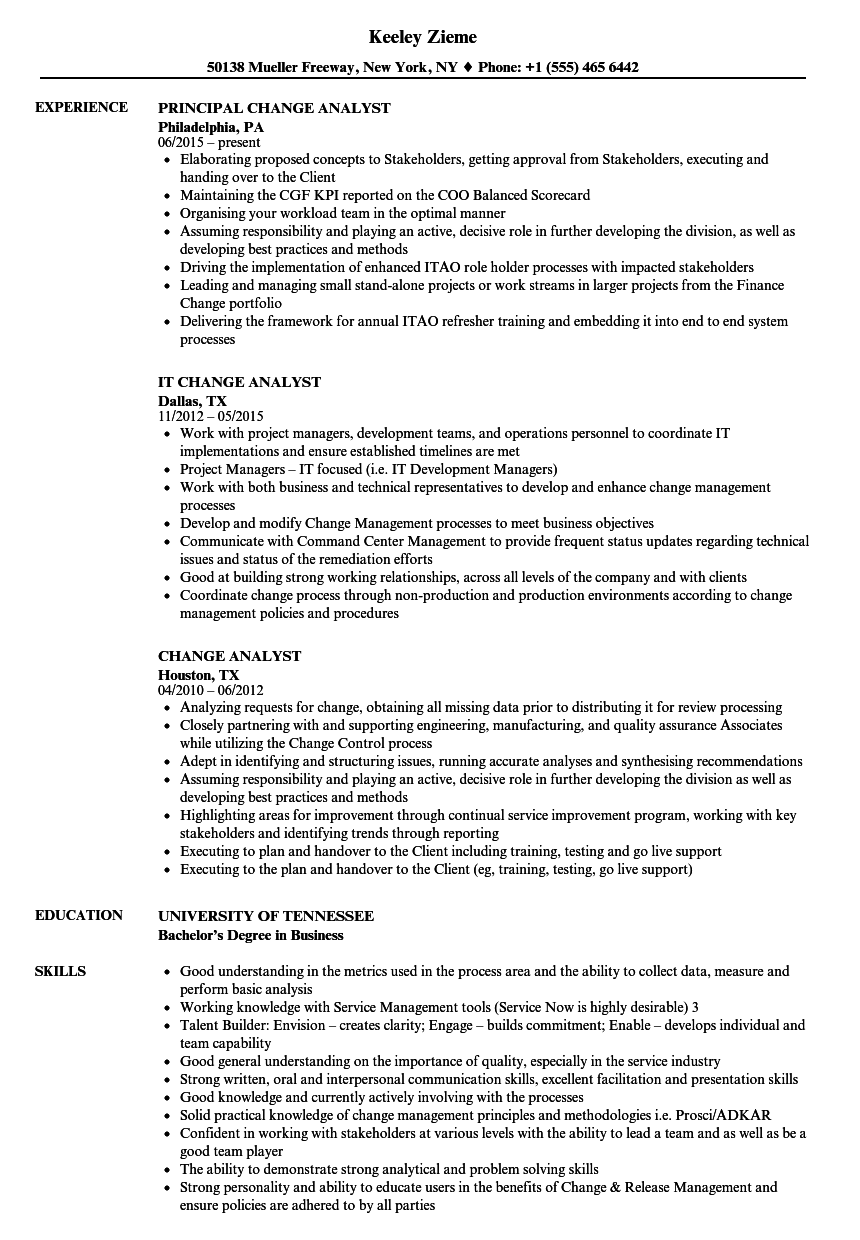Change Analyst Resume Samples Velvet Jobs