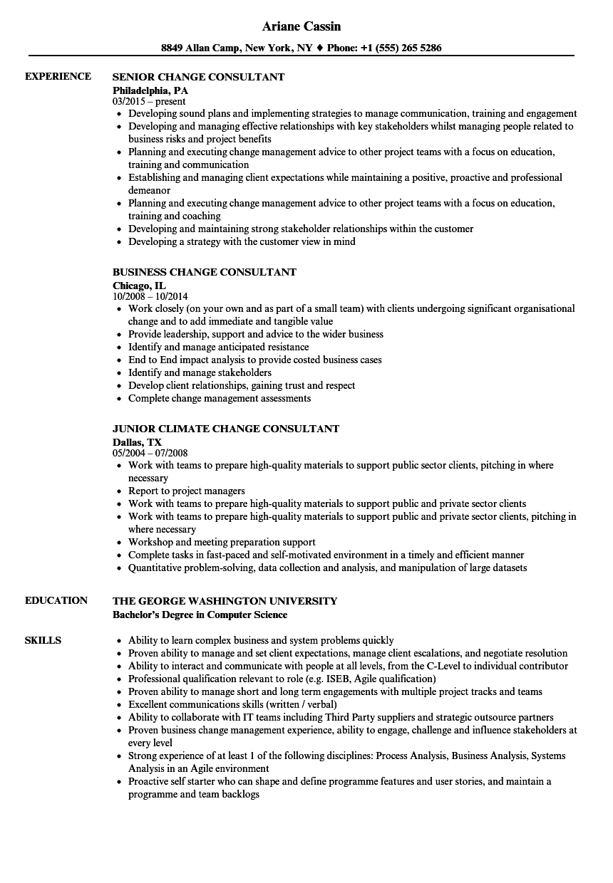 change consultant resume samples