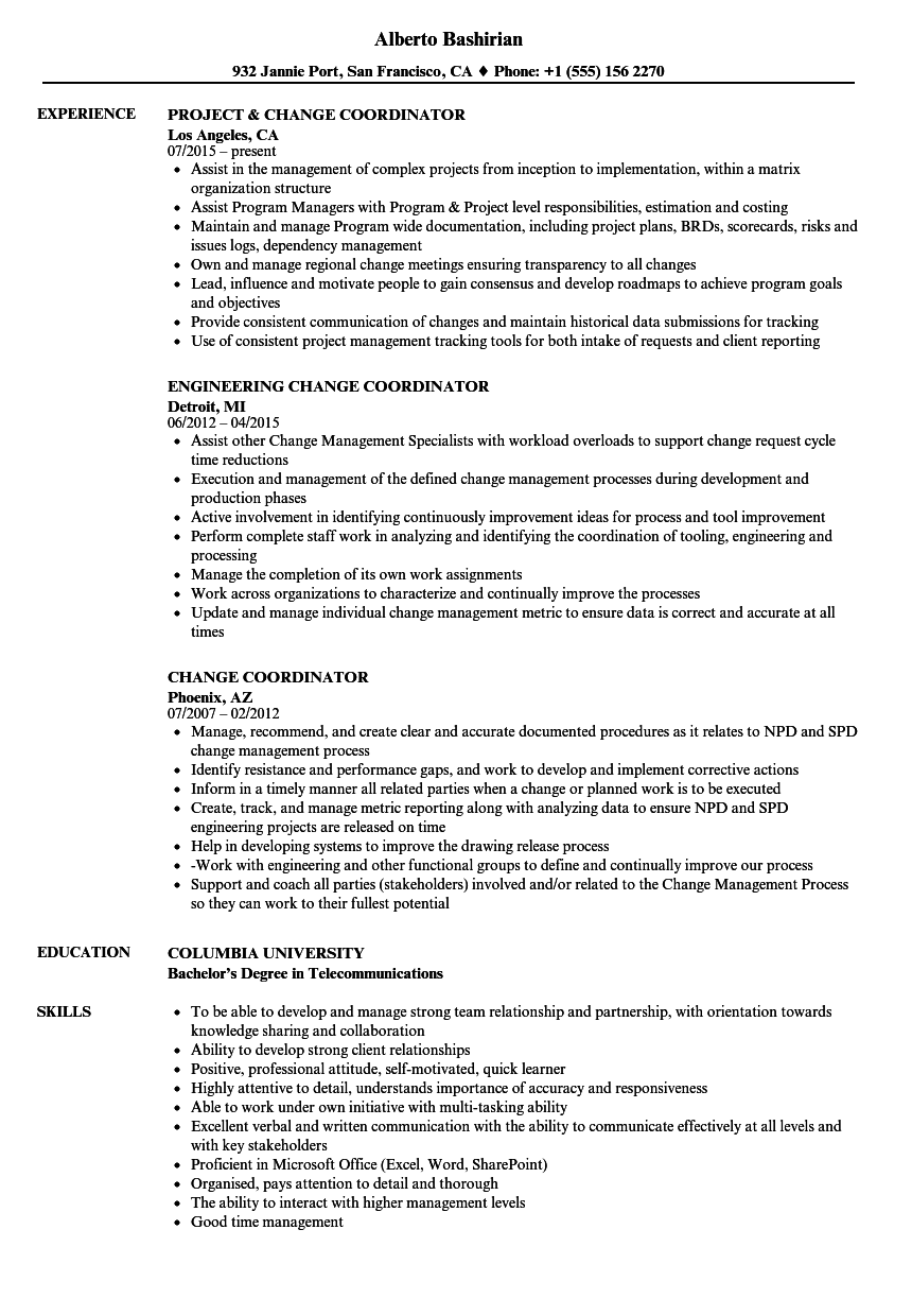 Change Coordinator Resume Samples Velvet Jobs