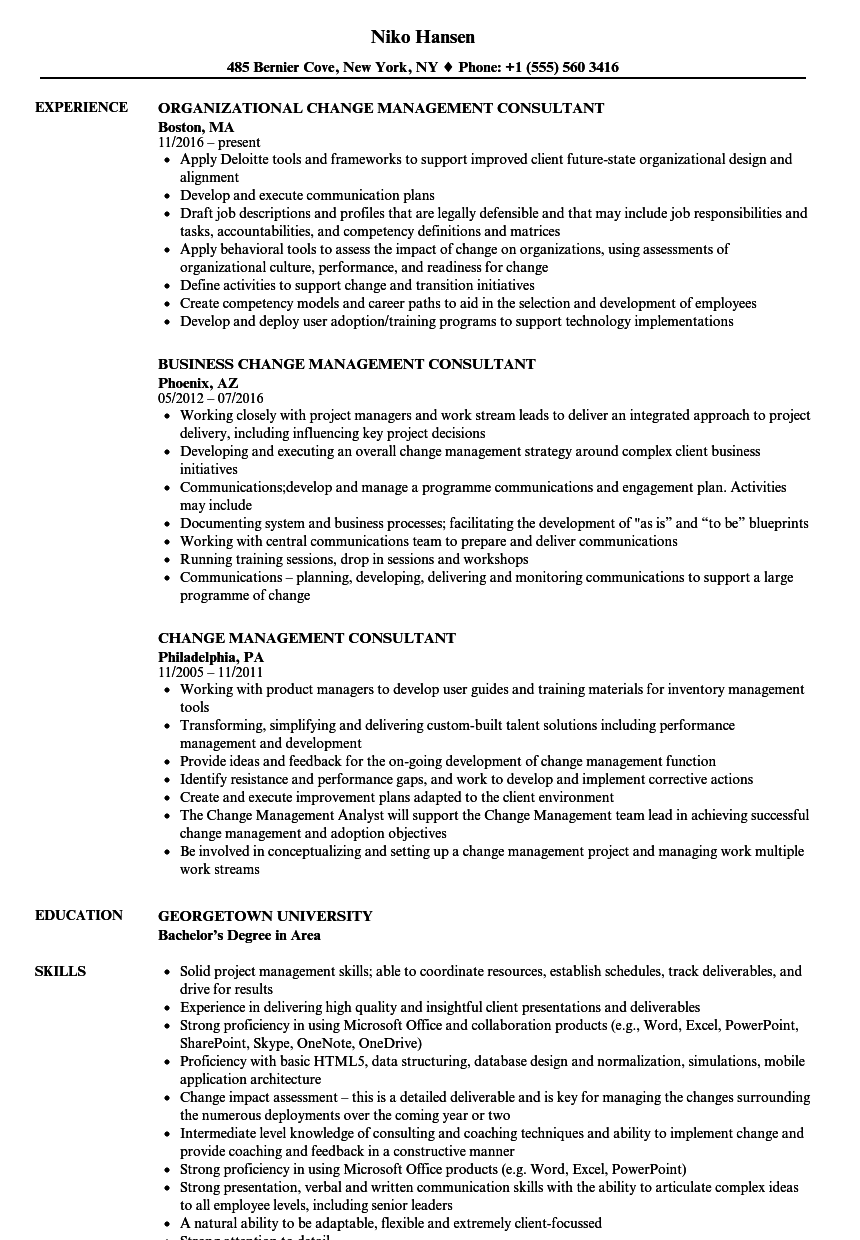 Download Change Management Consultant Resume Sample As Image File