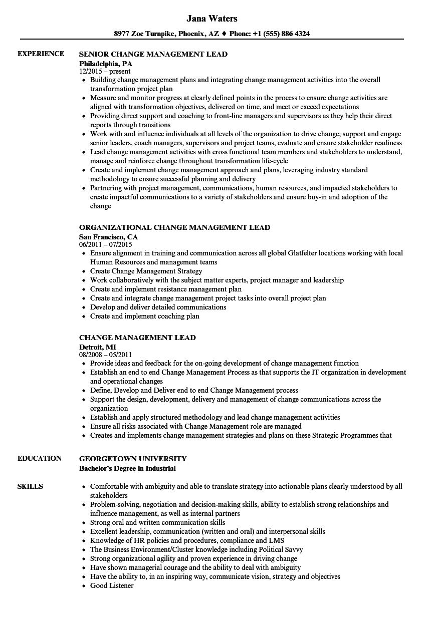 Change Management Lead Resume Samples | Velvet Jobs