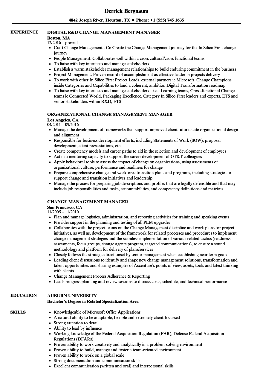 Change Management Manager Resume Samples | Velvet Jobs