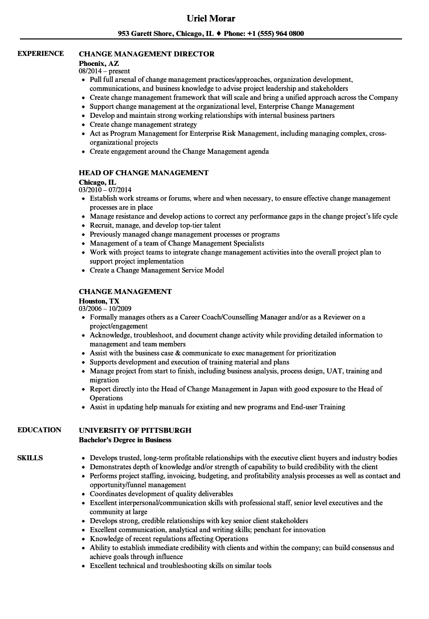 Change Management Resume Samples | Velvet Jobs