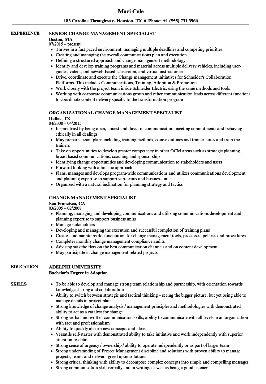 Download Change Management Specialist Resume Sample As Image File