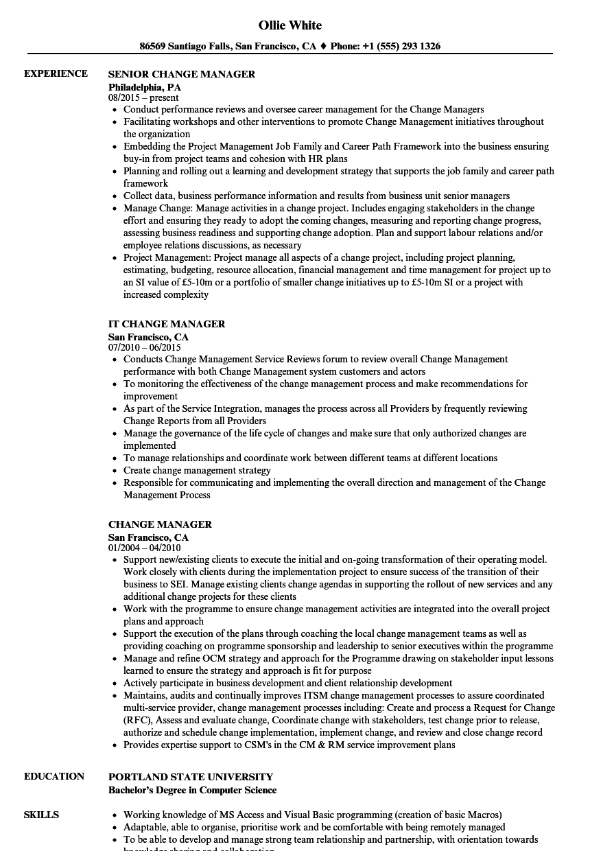 Change Manager Resume Samples | Velvet Jobs