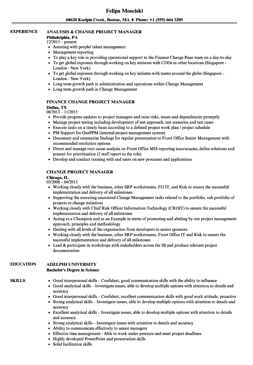 Change Project Manager Resume Samples Velvet Jobs