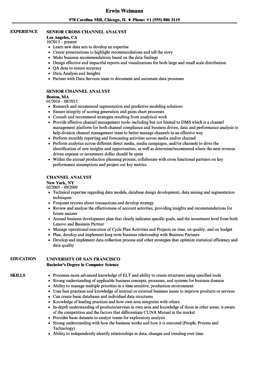 Channel Analyst Resume Samples Velvet Jobs