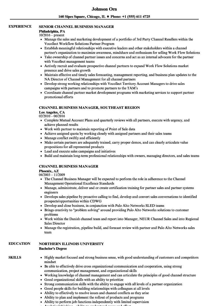 channel business manager resume samples