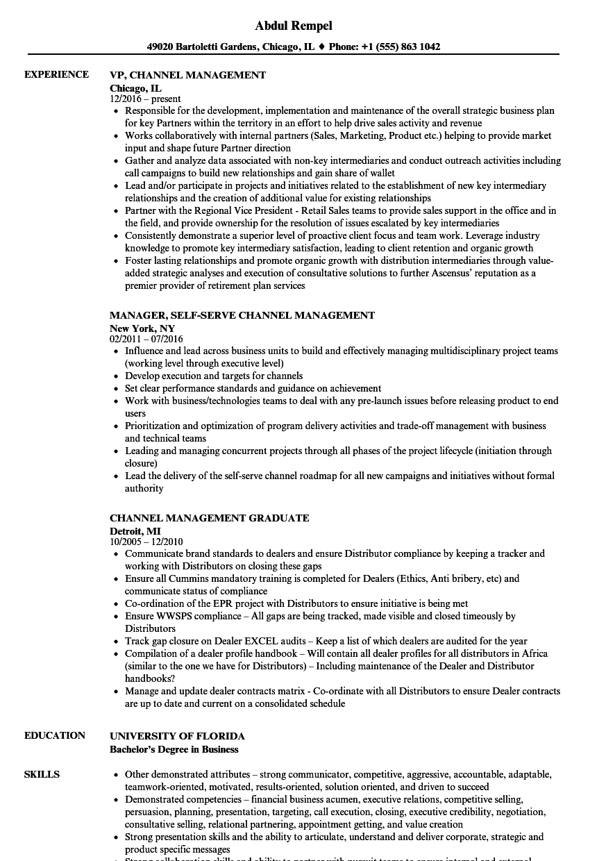 Channel Management Resume Samples | Velvet Jobs