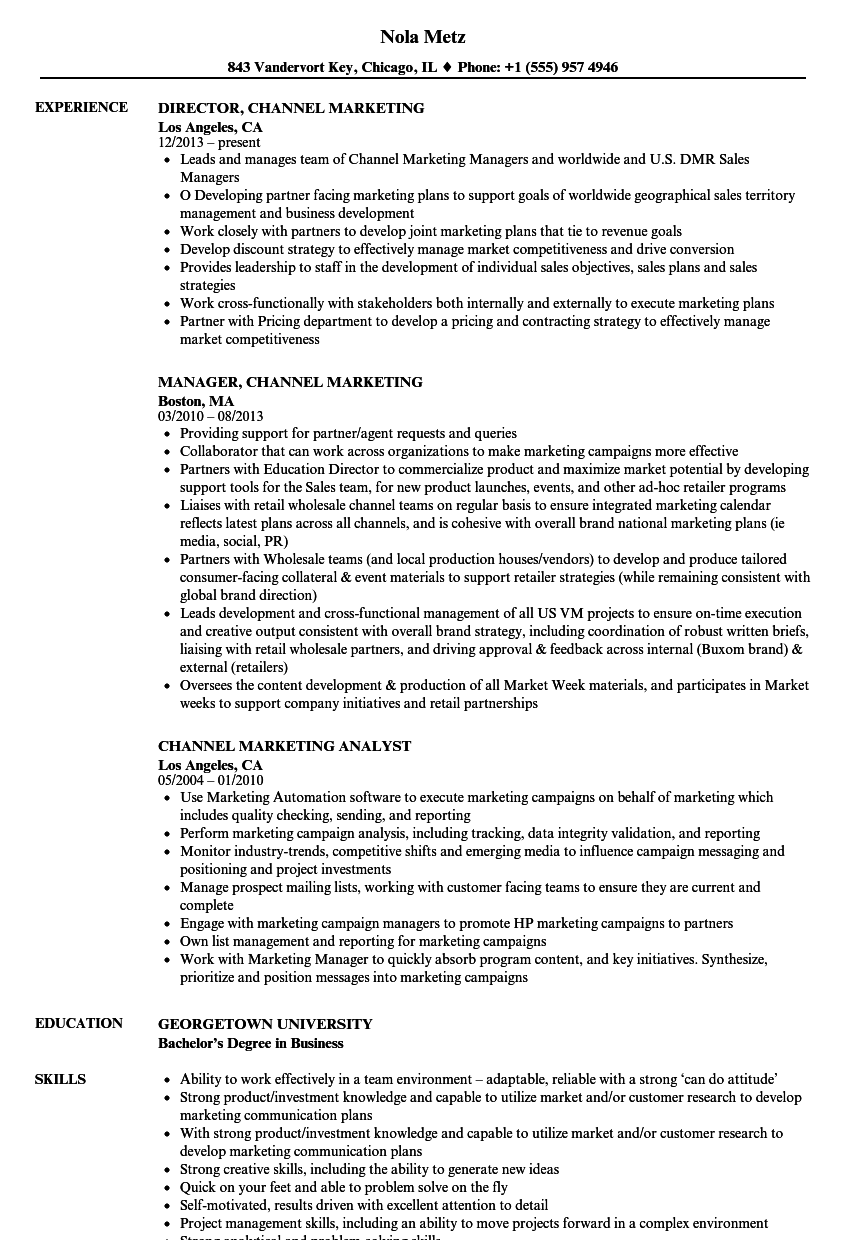 channel marketing resume samples