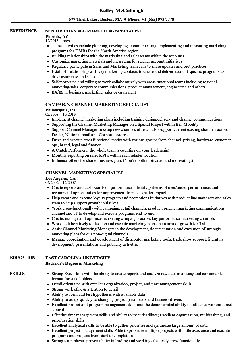 channel marketing specialist resume samples velvet jobs