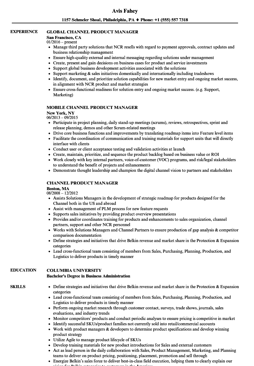 channel product manager resume samples