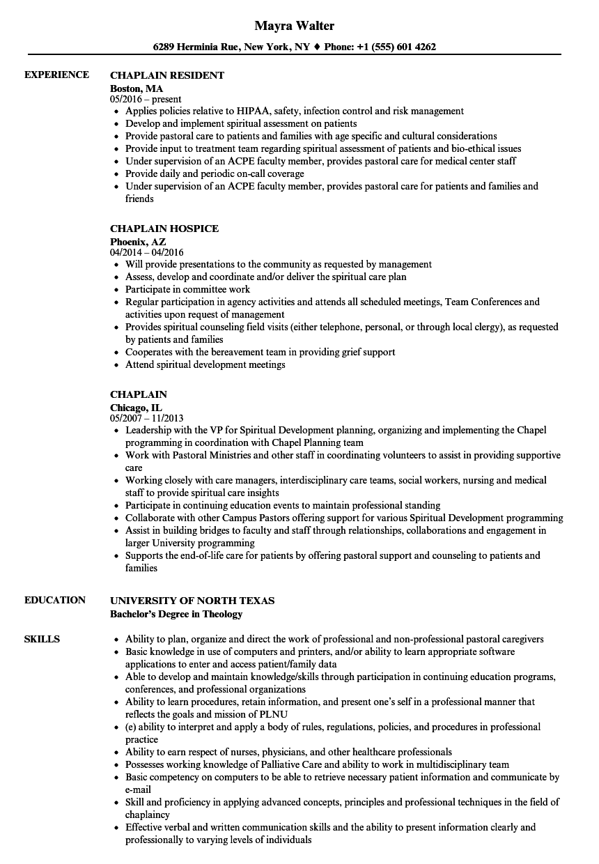 Chaplain Resume Samples Velvet Jobs