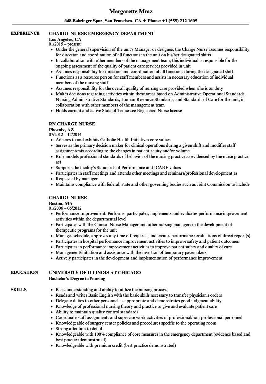 Charge Nurse Resume Samples Velvet Jobs