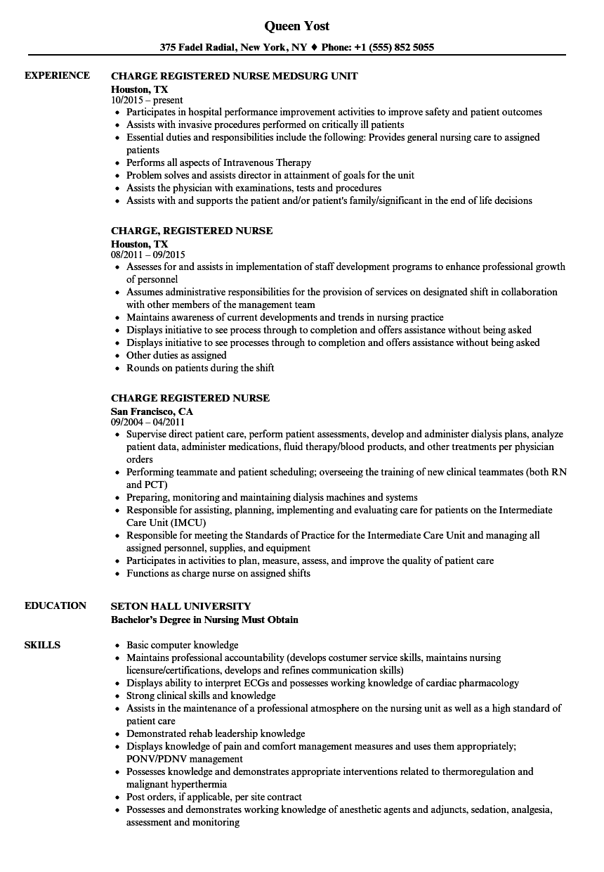 charge registered nurse resume samples
