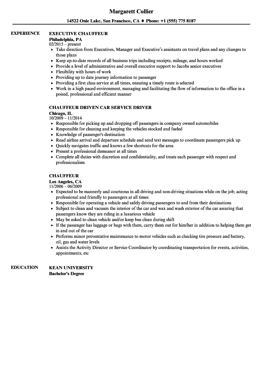 chauffeur resume samples