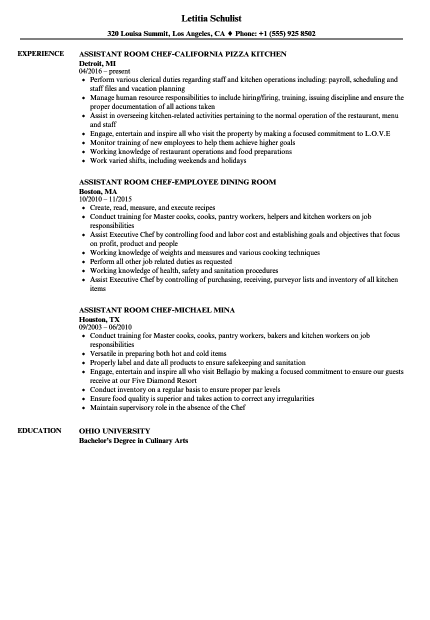 Chef Assistant Resume Samples | Velvet Jobs