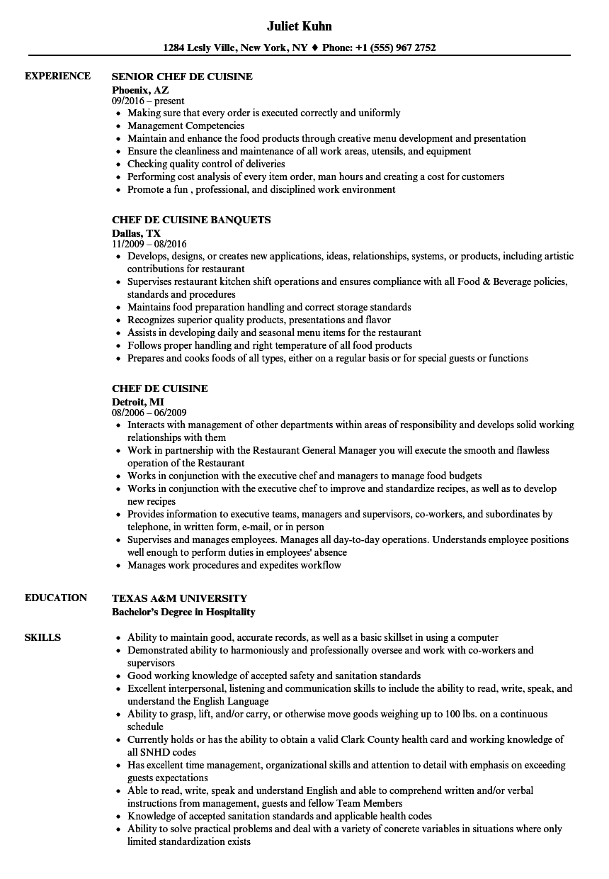 Chef de Cuisine Resume Samples | Velvet Jobs