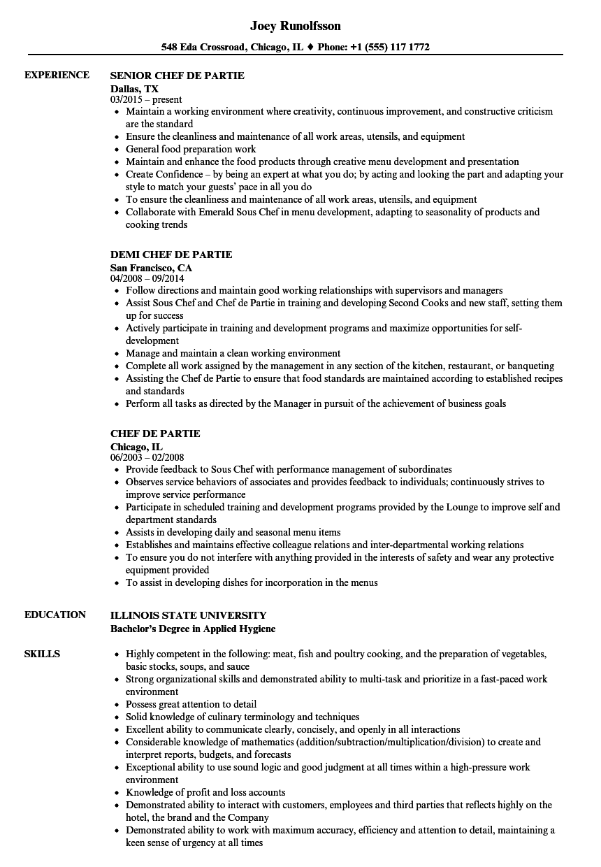 Chef De Partie Resume Samples Velvet Jobs