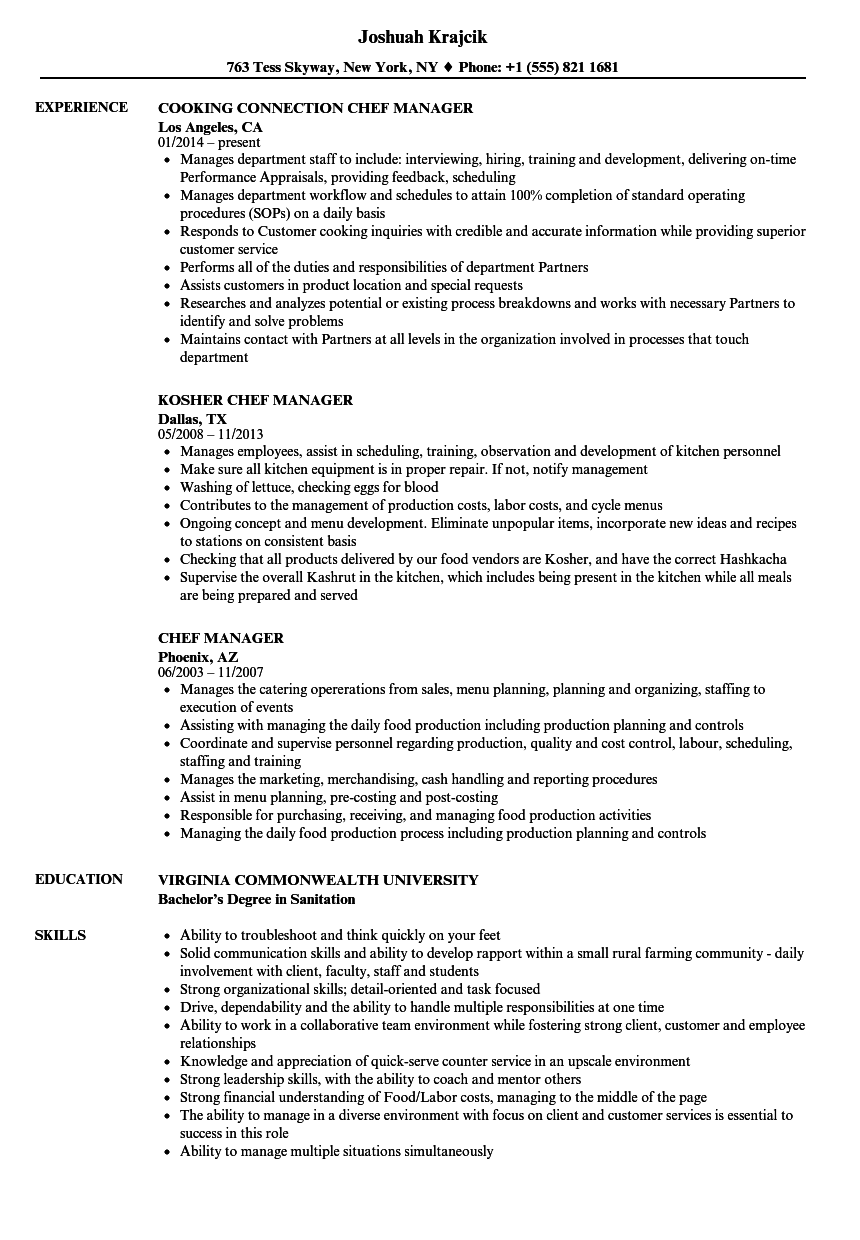 Chef Manager Resume Samples | Velvet Jobs