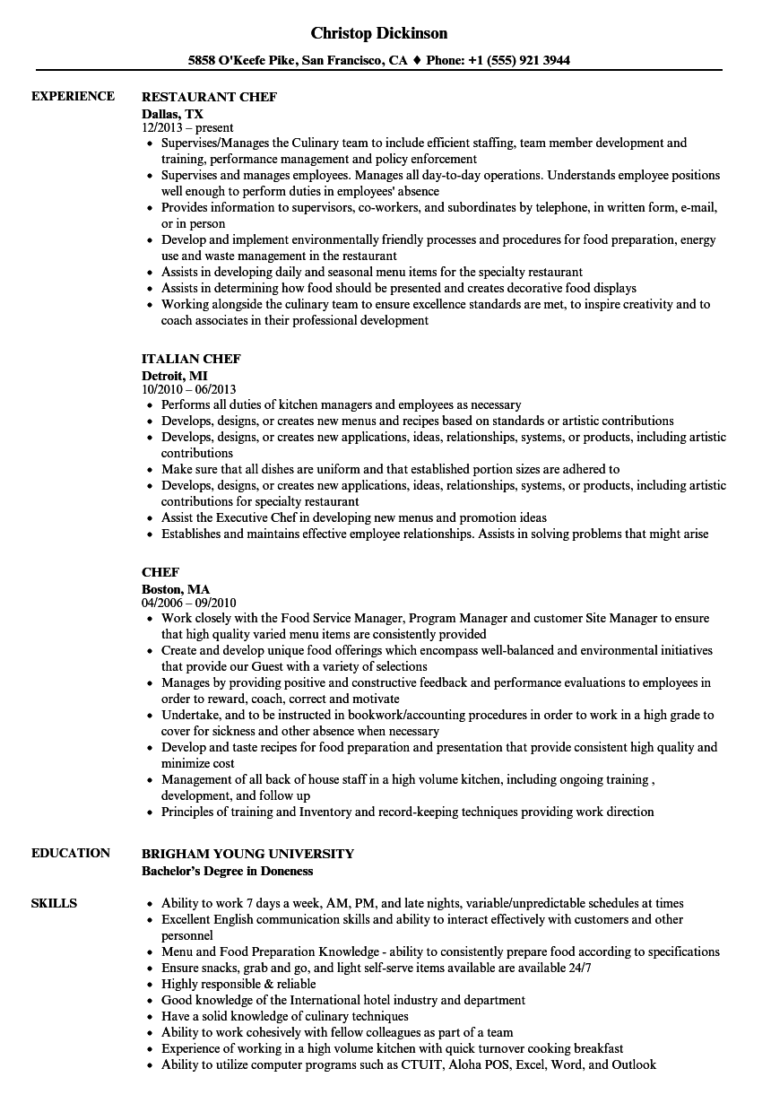 Chef Resume Samples Velvet Jobs
