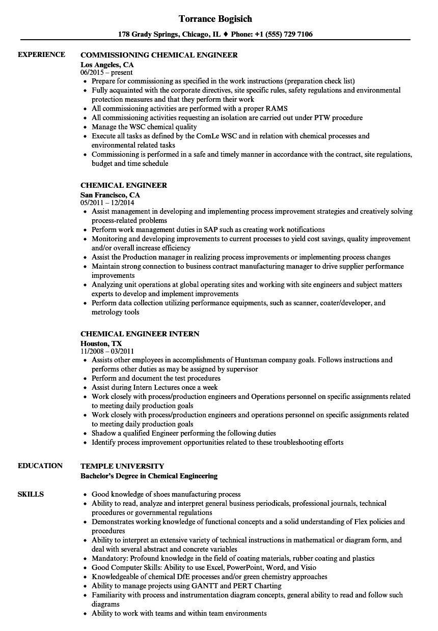 Chemical Engineer Resume Samples | Velvet Jobs